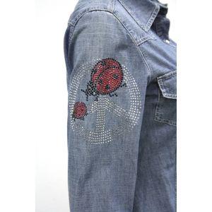 Biscote Damen Jeans Bluse 1/1 Arm Marienkäfer
