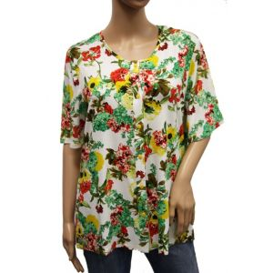 Adelina Damen Blumenshirt 1/2 Arm 774490 - BIS Größe 54 -